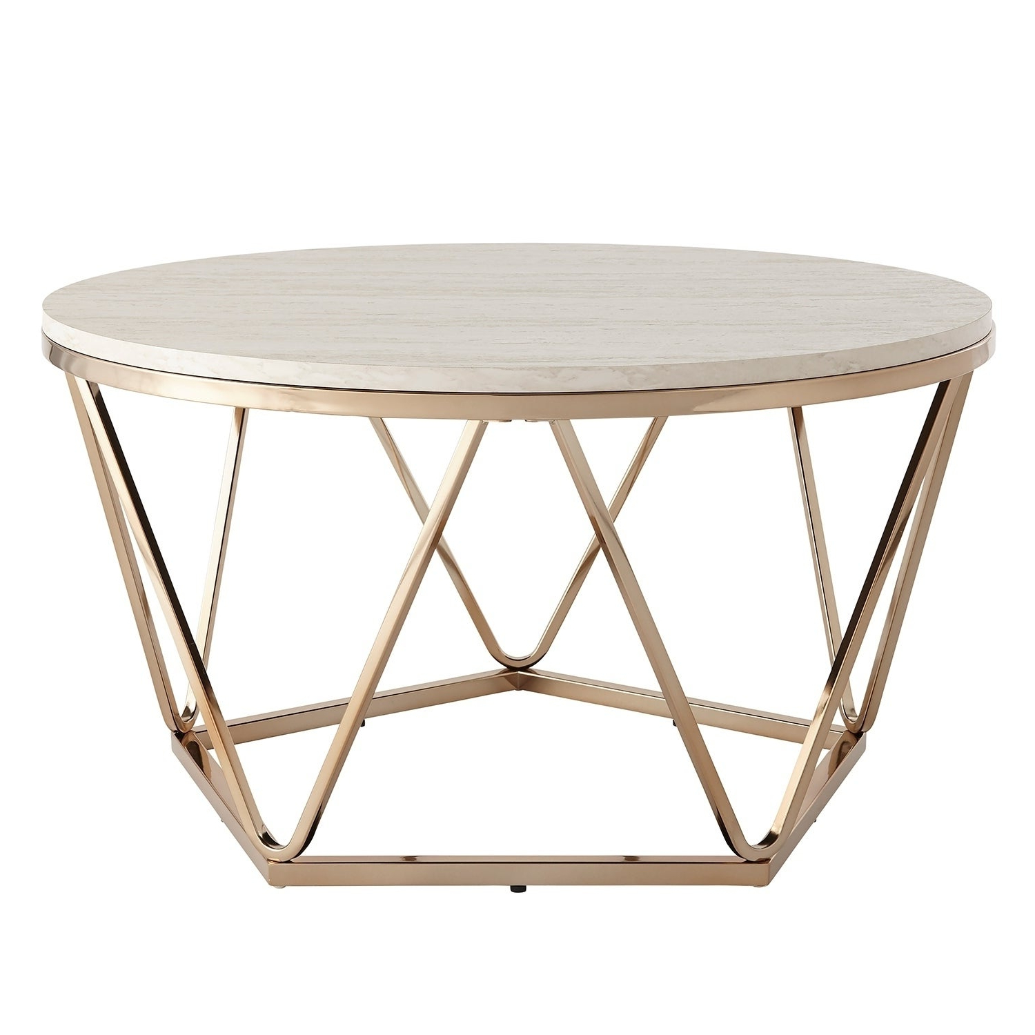 Well Liked Silver Orchid Henderson Faux Stone Round End Tables Regarding Silver Orchid Henderson Faux Stone Goldtone Round Coffee Table (View 9 of 20)