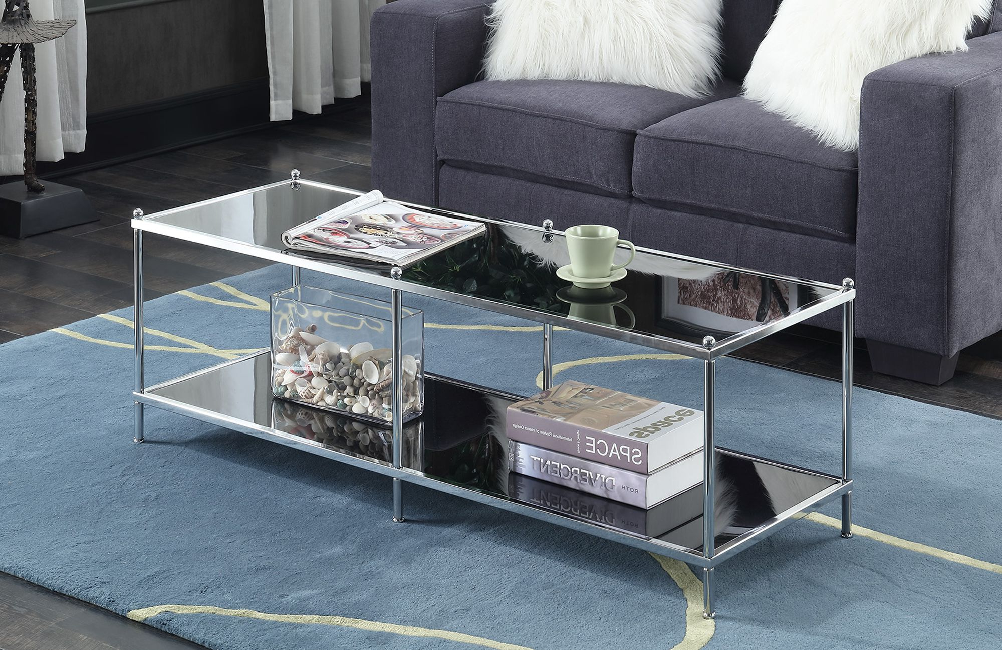 Well Liked Silver Orchid Olivia Chrome Mirrored Coffee Cocktail Tables Intended For Convenience Concepts Royal Crest Coffee Table, Multiple (View 15 of 20)
