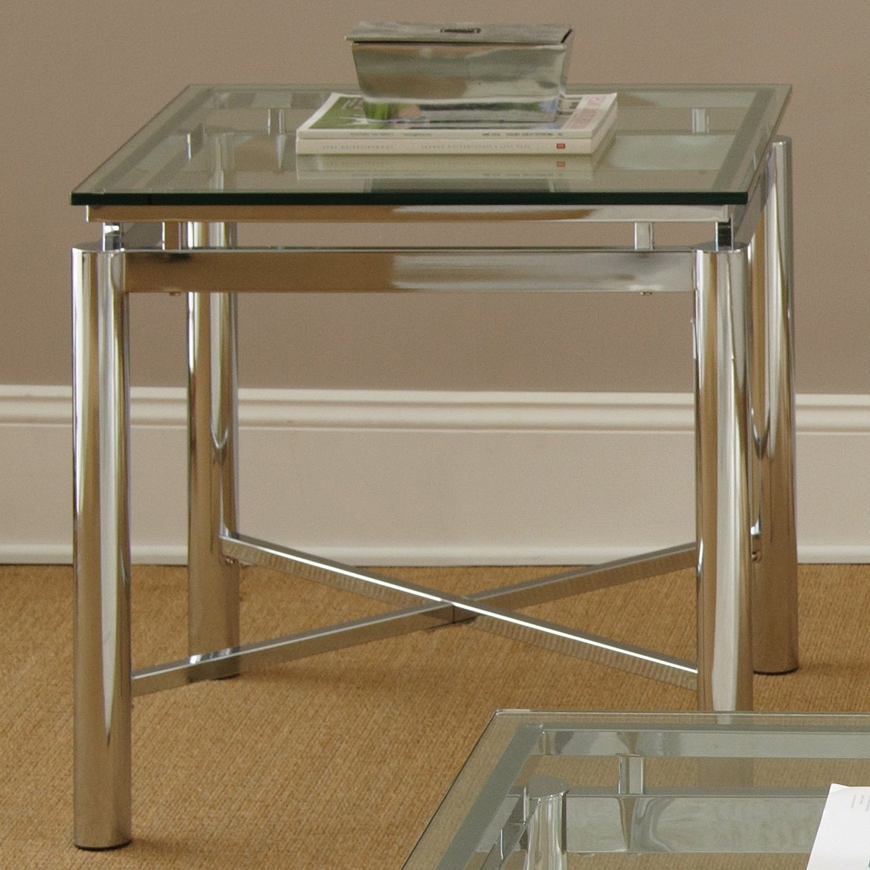 Well Liked Strick & Bolton Jules Chrome And Glass Coffee Tables Pertaining To Strick & Bolton Jules Chrome And Glass End Table (View 3 of 20)