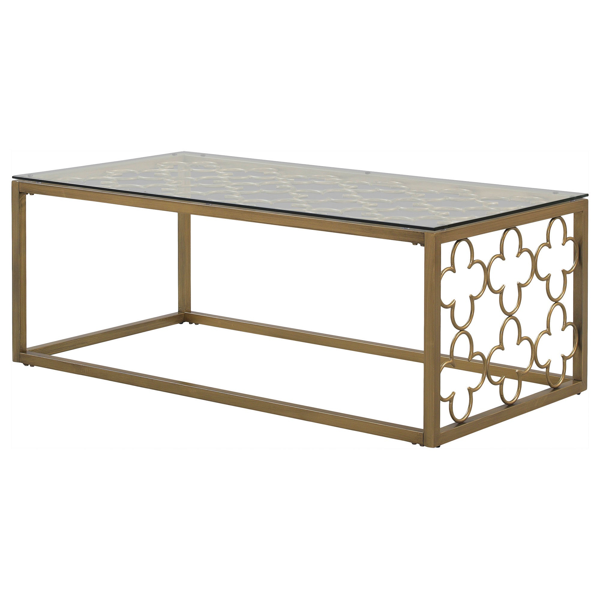 Featured Photo of The Curated Nomad Quatrefoil Goldtone Metal And Glass Coffee Tables