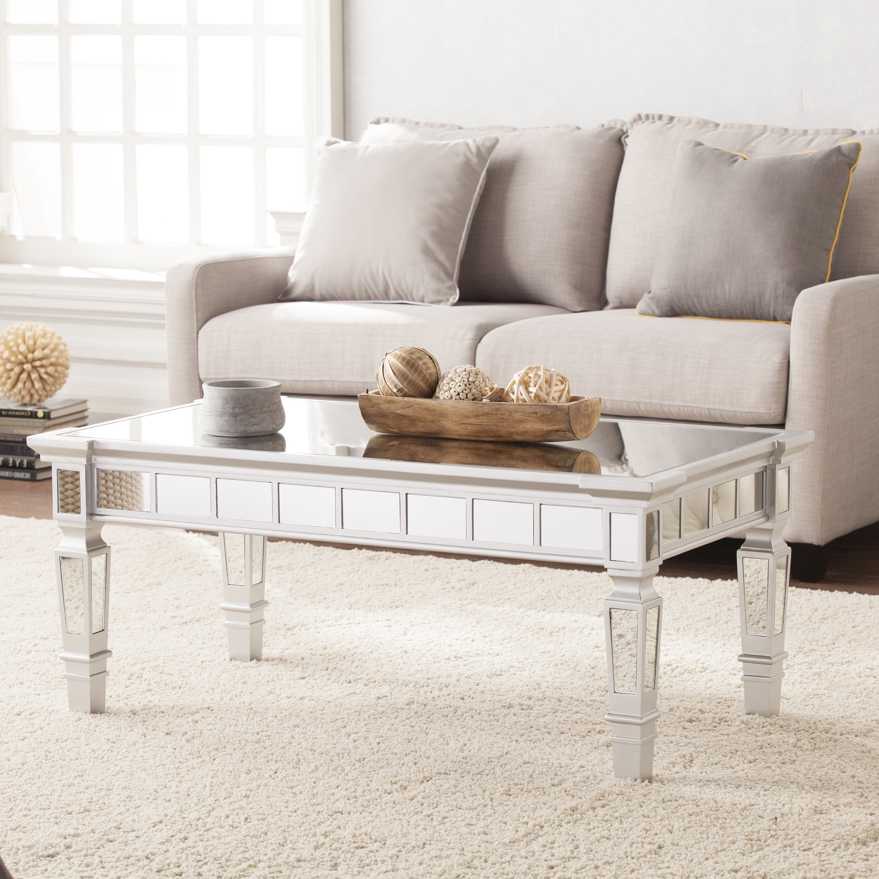 Well Liked Upton Home Dalton Mirrored Cocktail Tables Throughout Silver Orchid Olivia Glam Mirrored Rectangular Cocktail Table – Matte Silver (View 12 of 20)