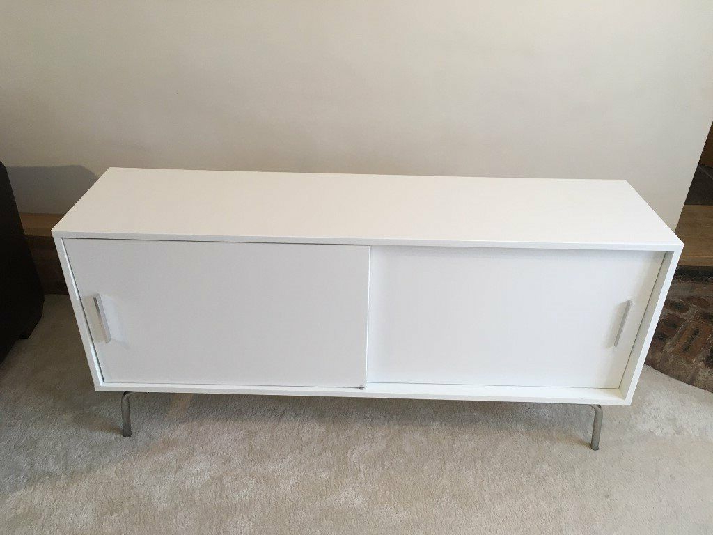 White Gloss Sideboard Storage Cabinet With Shelves And Sliding Doors – Ikea  Torsby | In Ross On Wye, Herefordshire | Gumtree In Rosson Sideboards (View 17 of 20)