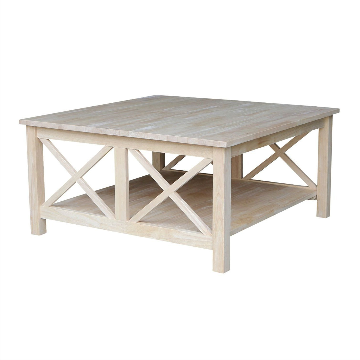 Widely Used 'hampton' Unfinished Solid Parawood Square Coffee Tables Pertaining To Square Unfinished Solid Wood Coffee Table With Bottom Shelf (View 14 of 20)