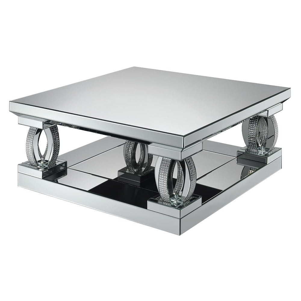 Widely Used Contemporary Chrome Glass Top And Mirror Shelf Coffee Tables Within Silver Orchid Ipsen Silver Mirror Square Coffee Table (View 20 of 20)