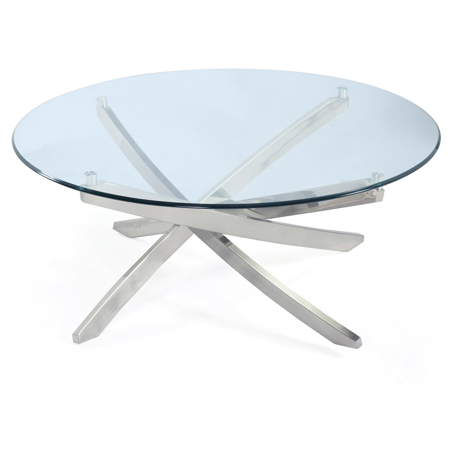 Widely Used Elowen Round Glass Coffee Tables Regarding Zila Contemporary Brushed Nickel Round Coffee Table With Glass Top (View 19 of 20)