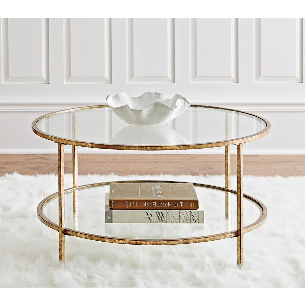 Widely Used Elowen Round Glass Coffee Tables Throughout Home Decorators Collection Bella Aged Gold Coffee Table (View 20 of 20)