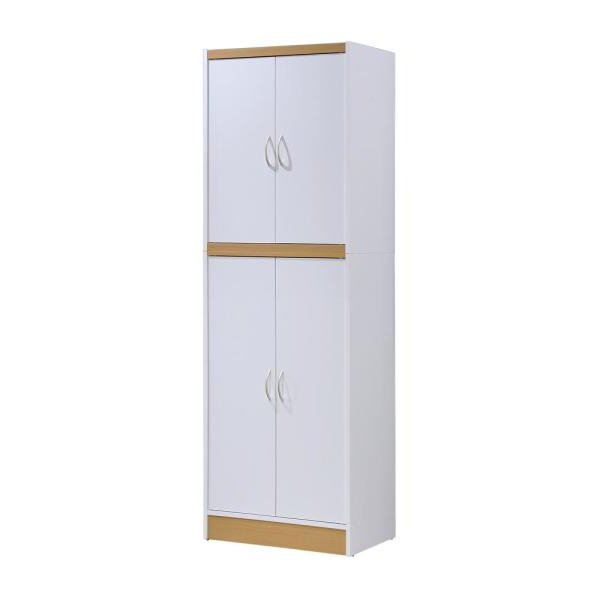 Widely Used Hodedah 4 Door White Kitchen Pantry Hi224 White – The Home Depot In Amaia 3 Piece Kitchen Pantry (View 20 of 20)
