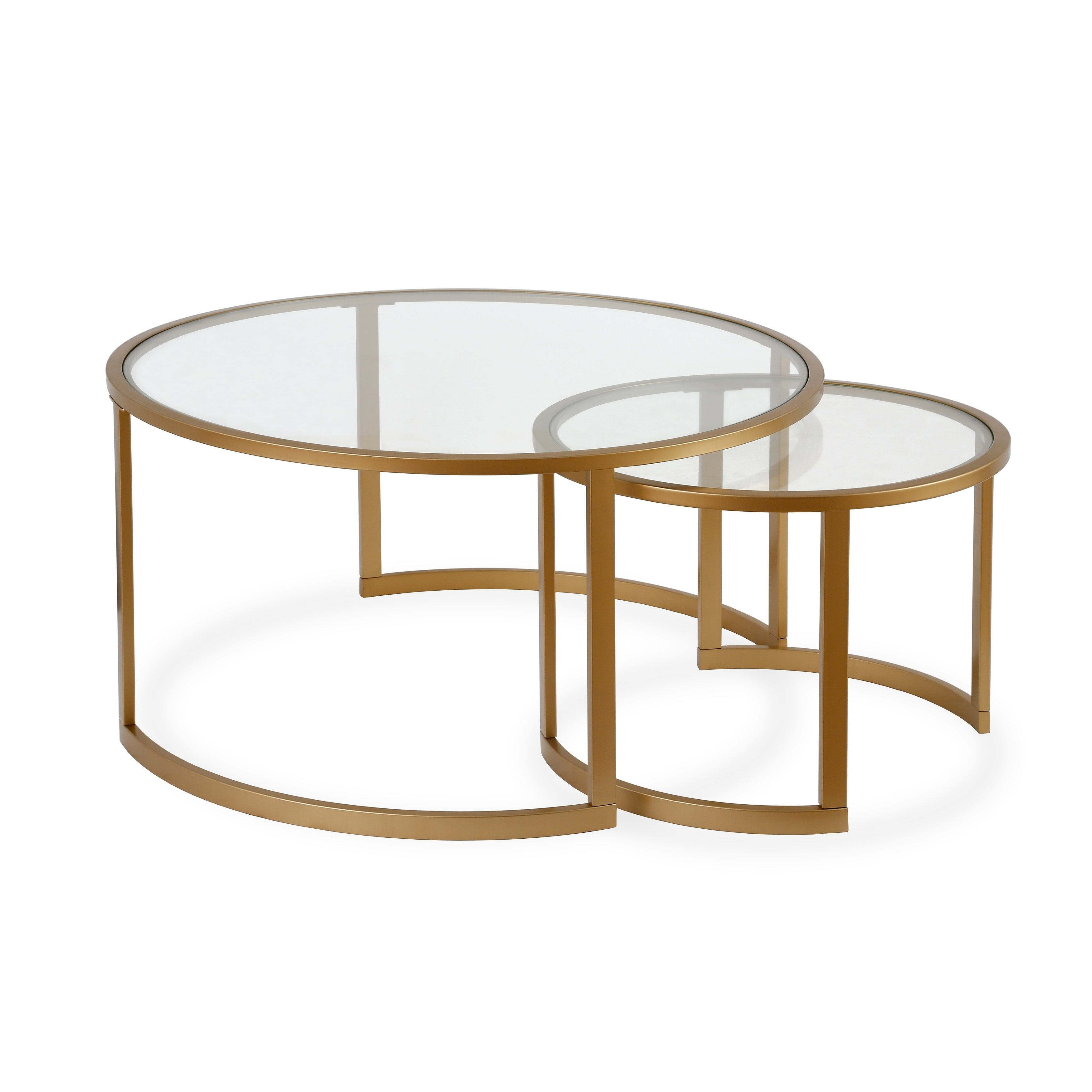 Widely Used Mitera Round Metal Glass Nesting Coffee Tables Intended For Mitera Round Metal/glass Nesting Coffee Tables Set Of 2 (Optional Finishes) (View 20 of 20)