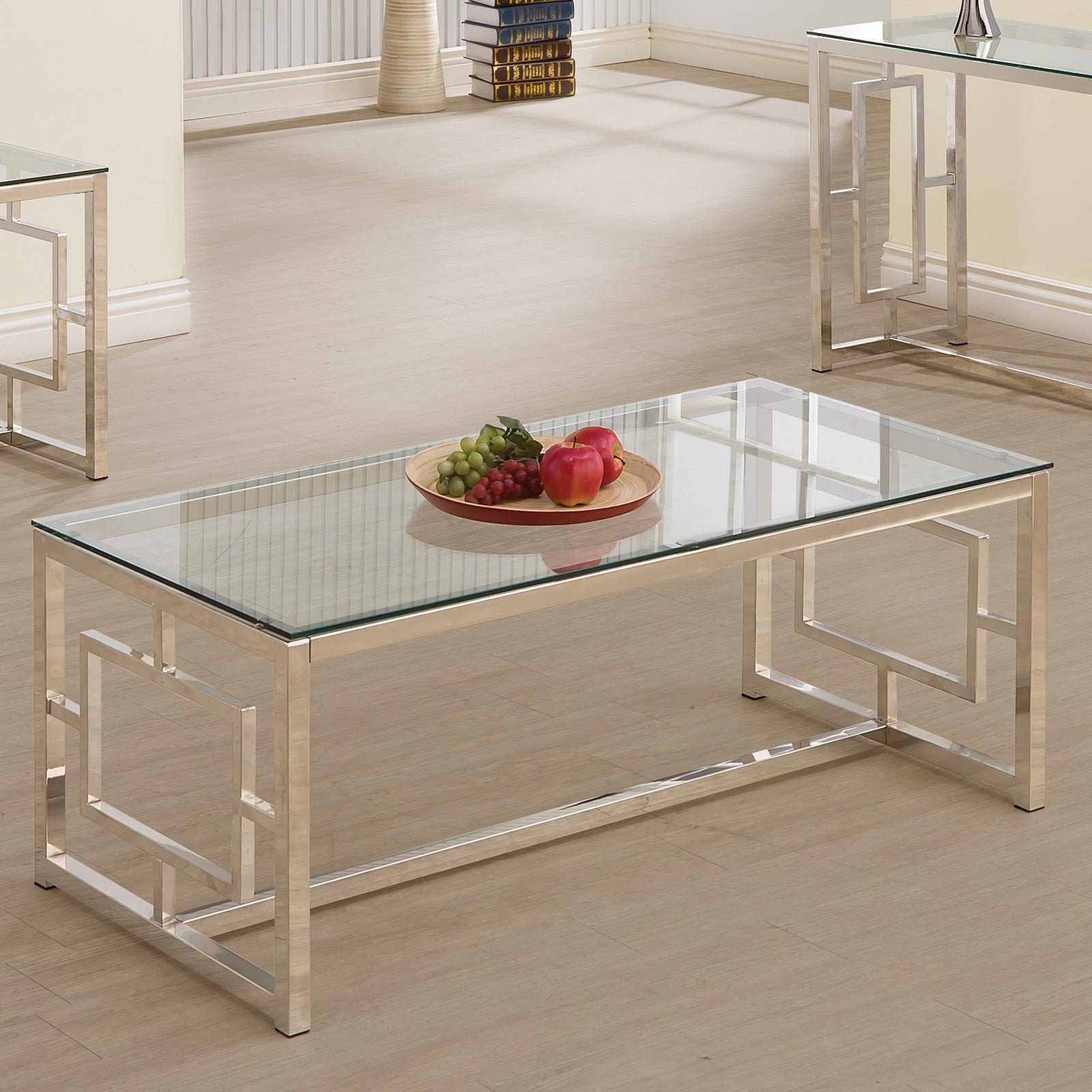 Widely Used Silver Orchid Olivia Mirrored Coffee Cocktail Tables With Regard To Details About Silver Orchid Parker Satin Nickel Coffee Table Silver (View 17 of 20)