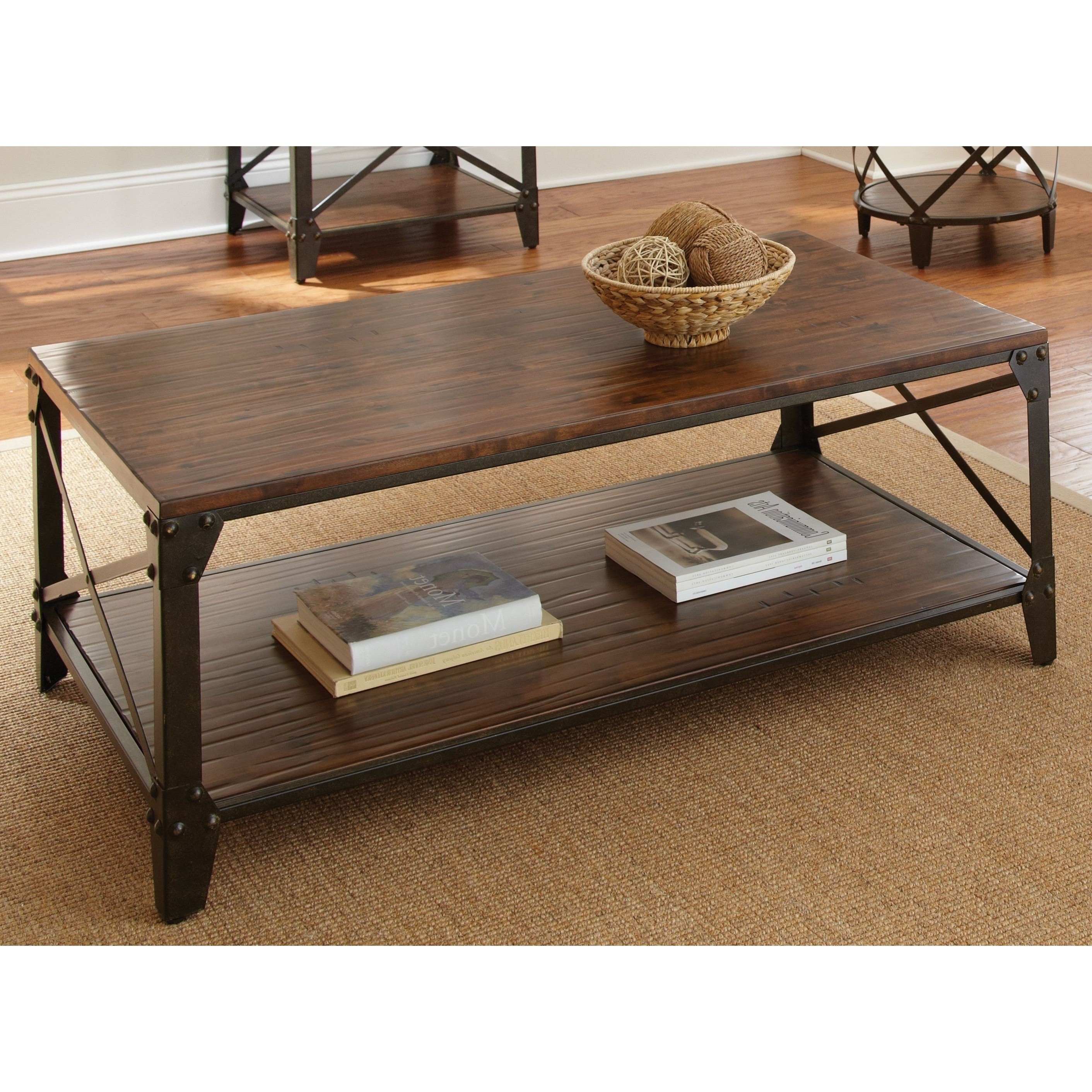 Windham Solid Birch/ Iron Coffee Table – Overstock Shopping Pertaining To Famous Burnham Reclaimed Wood And Iron Round Coffee Tables (View 19 of 20)