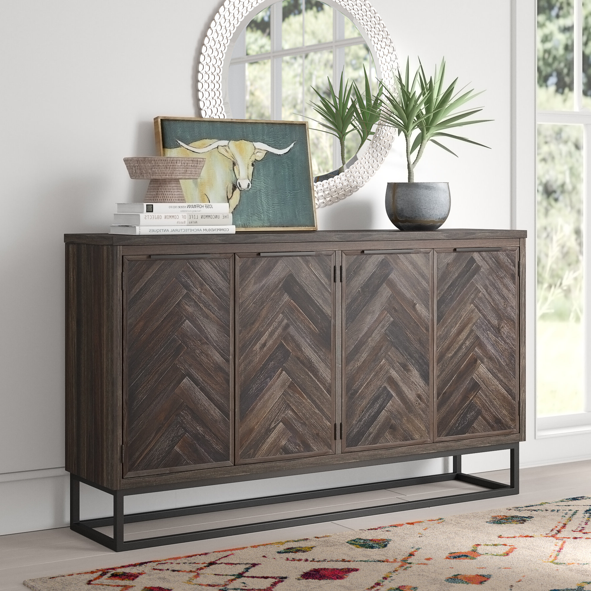 Wrought Iron Credenza | Wayfair With Regard To Upper Stanton Sideboards (View 12 of 20)