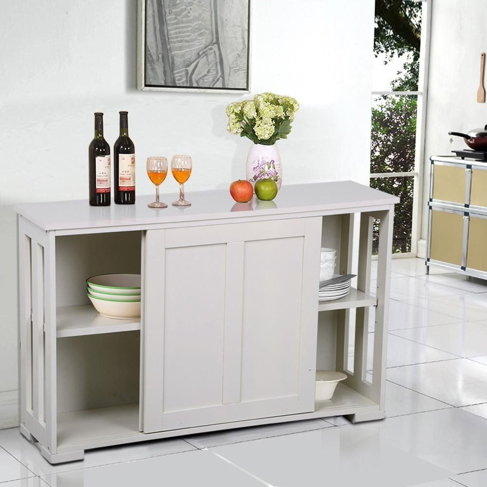 Yaheetech Antique White Sliding Door Buffet Sideboard Intended For South Miami Sideboards (View 15 of 20)