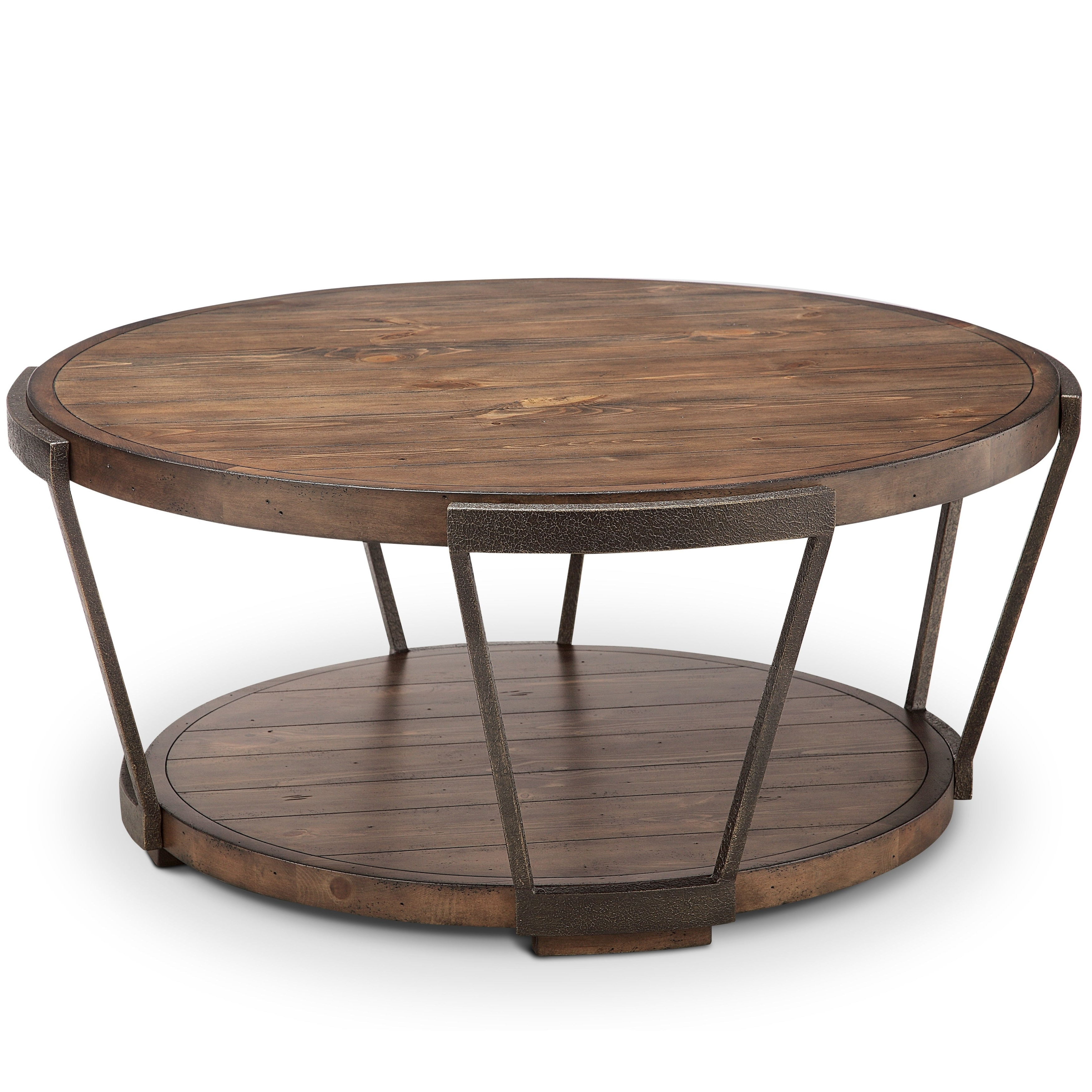 Yukon Industrial Bourbon And Aged Iron Round Coffee Table With Casters Throughout Preferred Burnham Reclaimed Wood And Iron Round Coffee Tables (View 20 of 20)