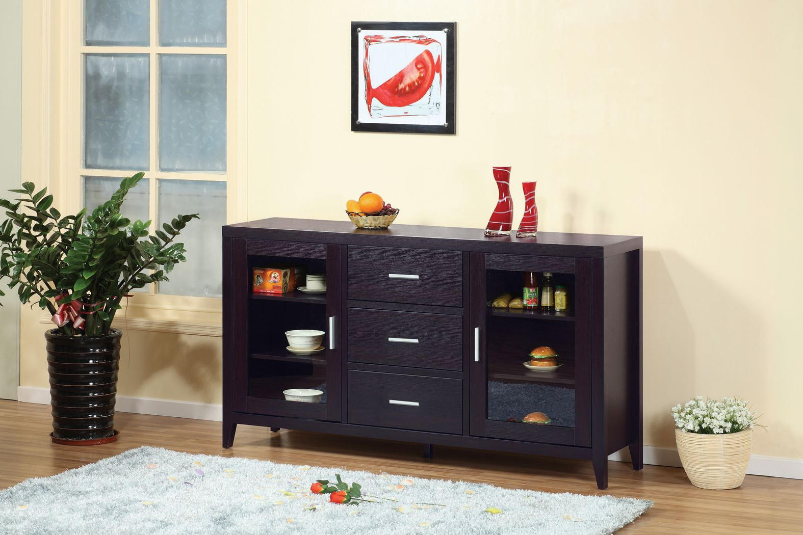 11456 Buffet Table – Smart Home Red Cocoa Modern Furniture Throughout Simple Living Montego Two Door Buffets (Gallery 17 of 20)