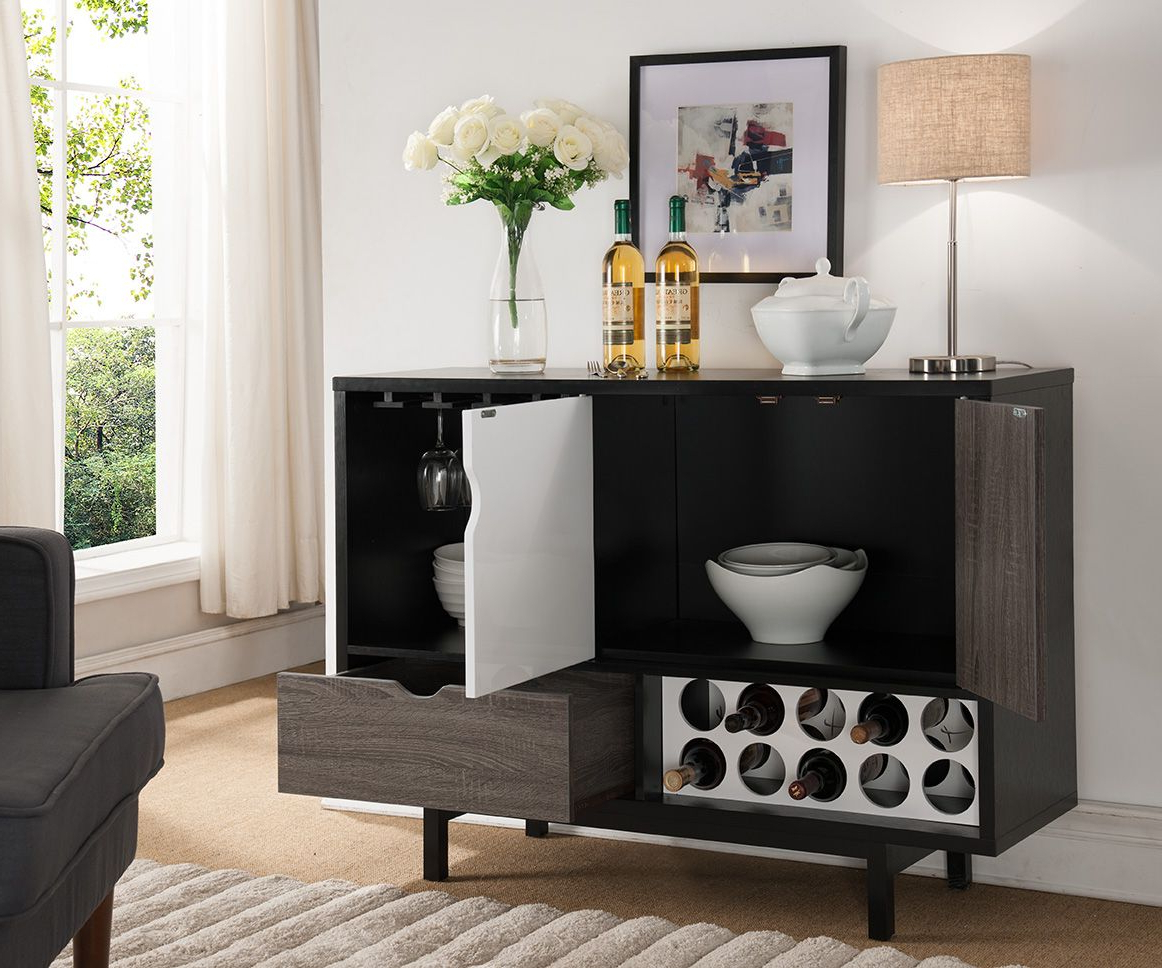 151369 Smart Home Contemporary Wine Cabinet Buffet Table Inside Contemporary Distressed Grey Buffets (Gallery 9 of 20)