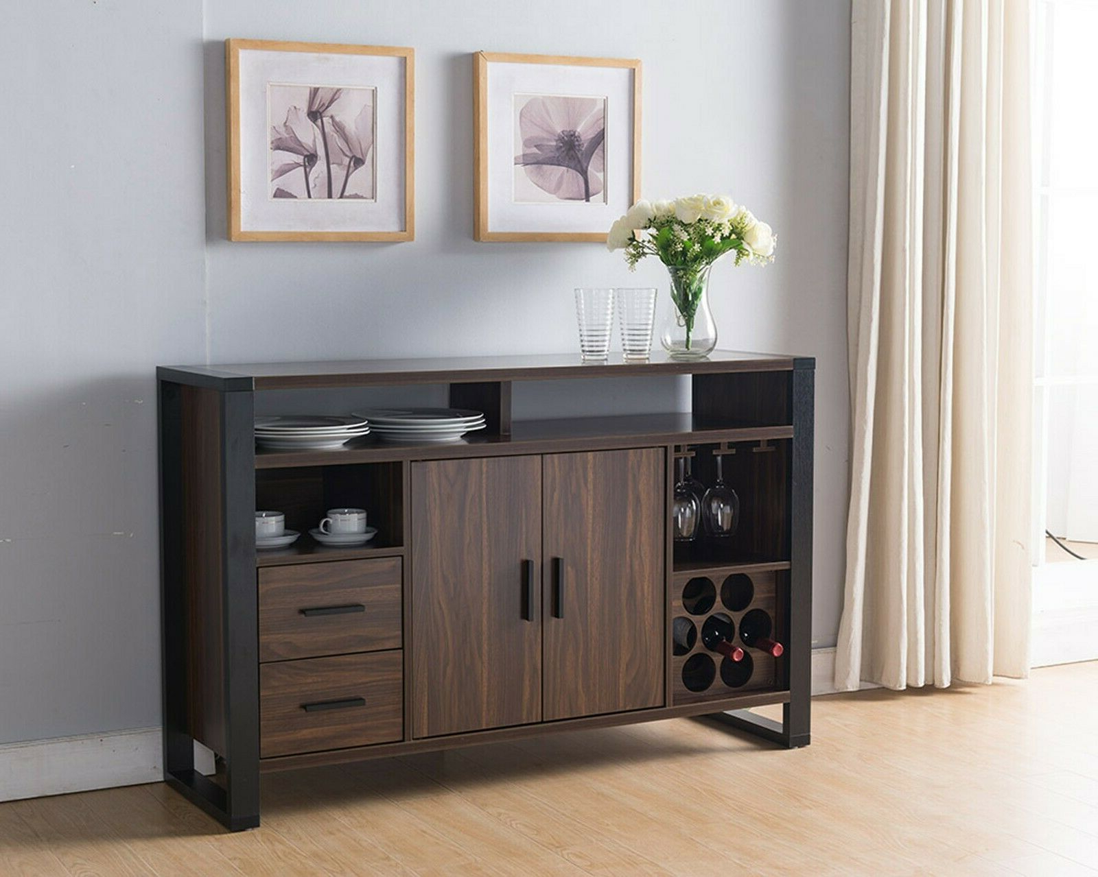 161640 Smart Home Dark Walnut & Black Wine Bar Sideboard Buffet Table Within Black Hutch Buffets With Stainless Top (View 1 of 20)