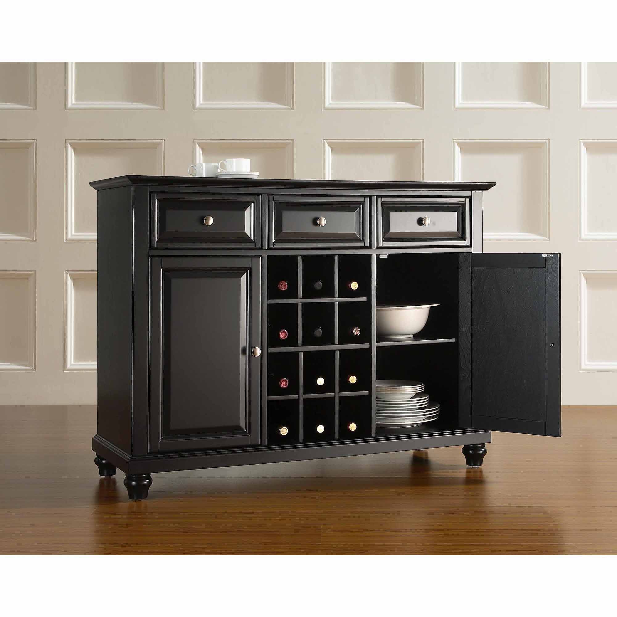 18 Storage Sideboard Cabinet, Amazon Com Kings Brand Regarding Modern Black Storage Buffets (View 1 of 20)