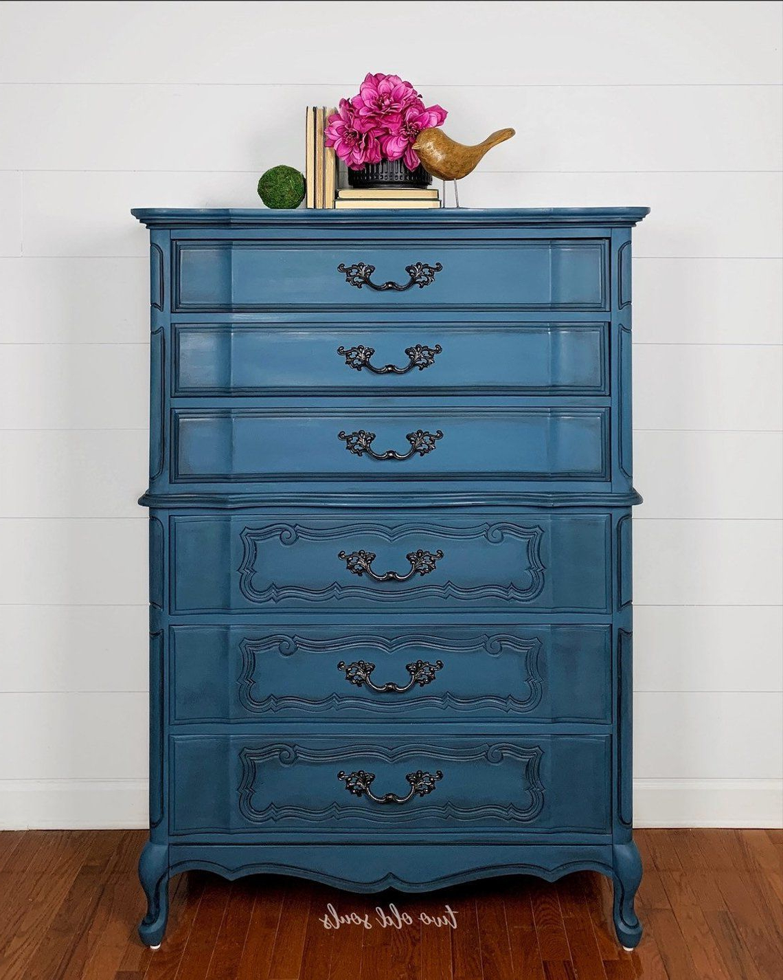 1960S French Provincial Bassett Painted Blue Oversized Regarding Pink And Navy Peaks Credenzas (Gallery 20 of 20)