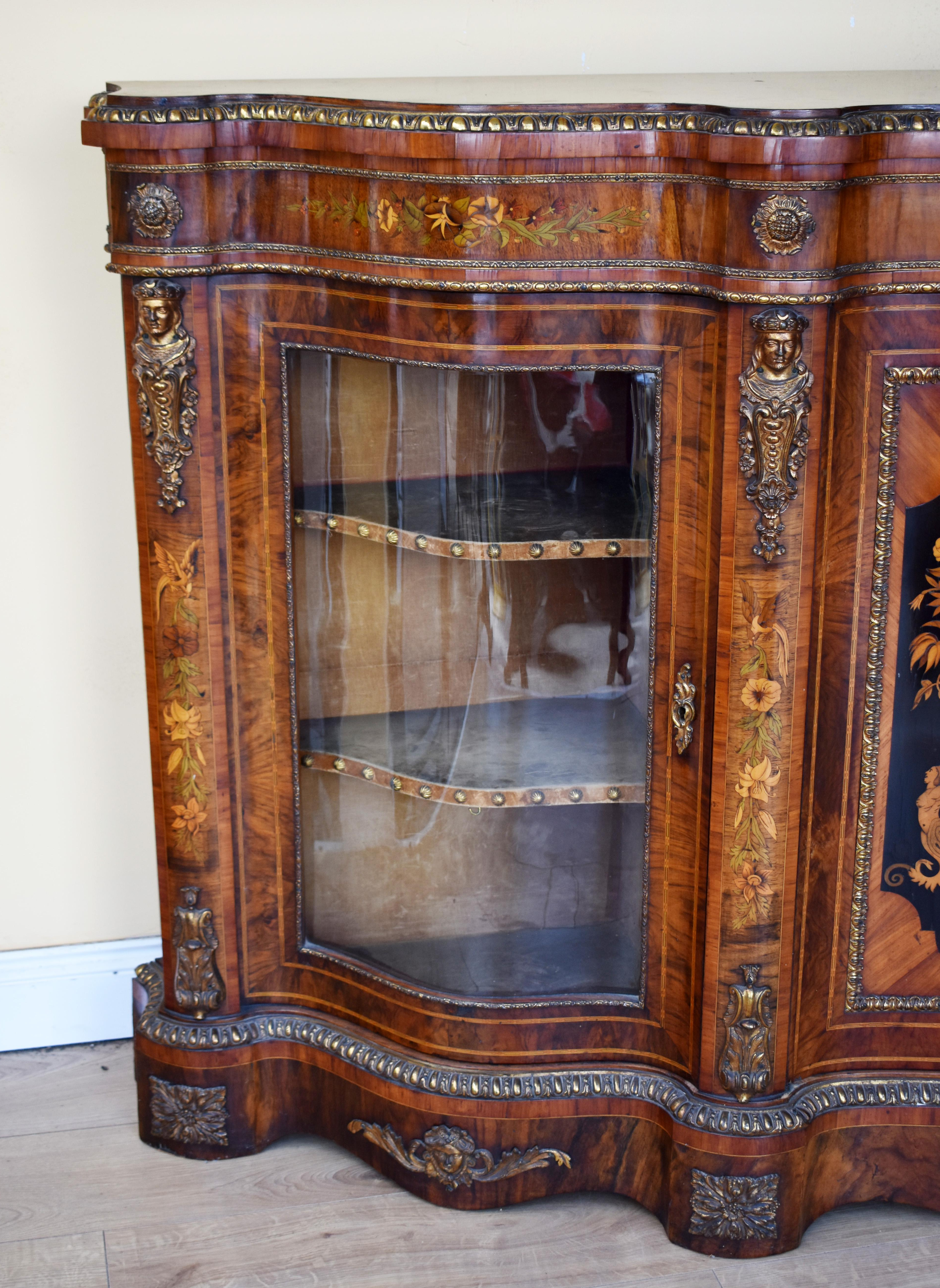 19Th Century English Victorian Burl Walnut And Marquetry Serpentine Credenza For Lovely Floral Credenzas (Gallery 19 of 20)