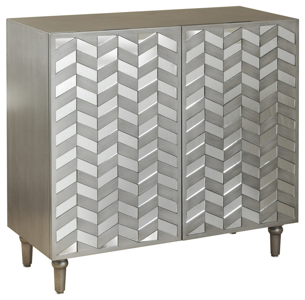 2 Door Credenza With Mirrored Door Fronts, Champagne Silver Throughout Wooden Deconstruction Credenzas (Gallery 12 of 20)