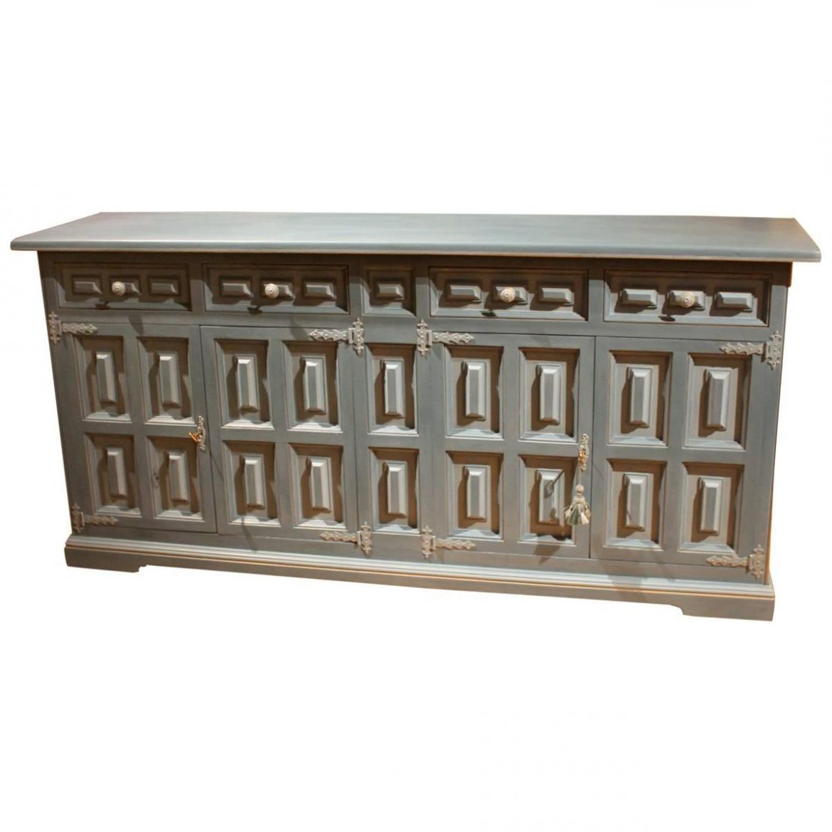 20Th Century Italian Rectangular Light Blue Lacquer Wood Credenza Or  Sideboard For Copper Leaf Wood Credenzas (View 1 of 20)