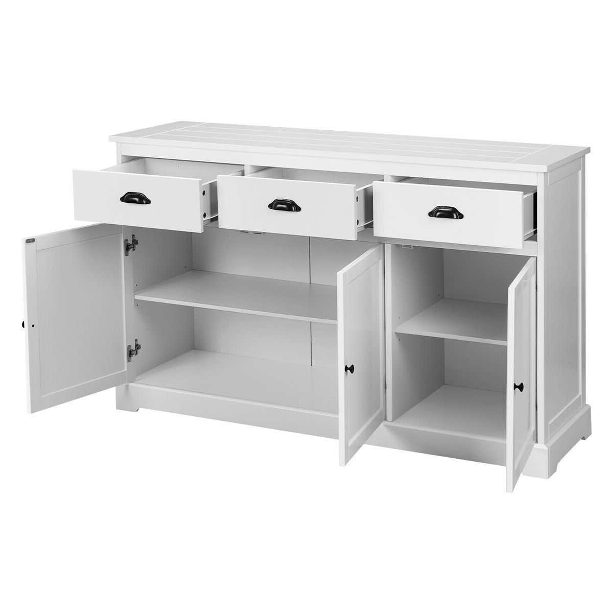 3 Drawers Console Table Sideboard Buffet Cabinet Within 3 Drawer Black Storage Buffets (View 1 of 20)