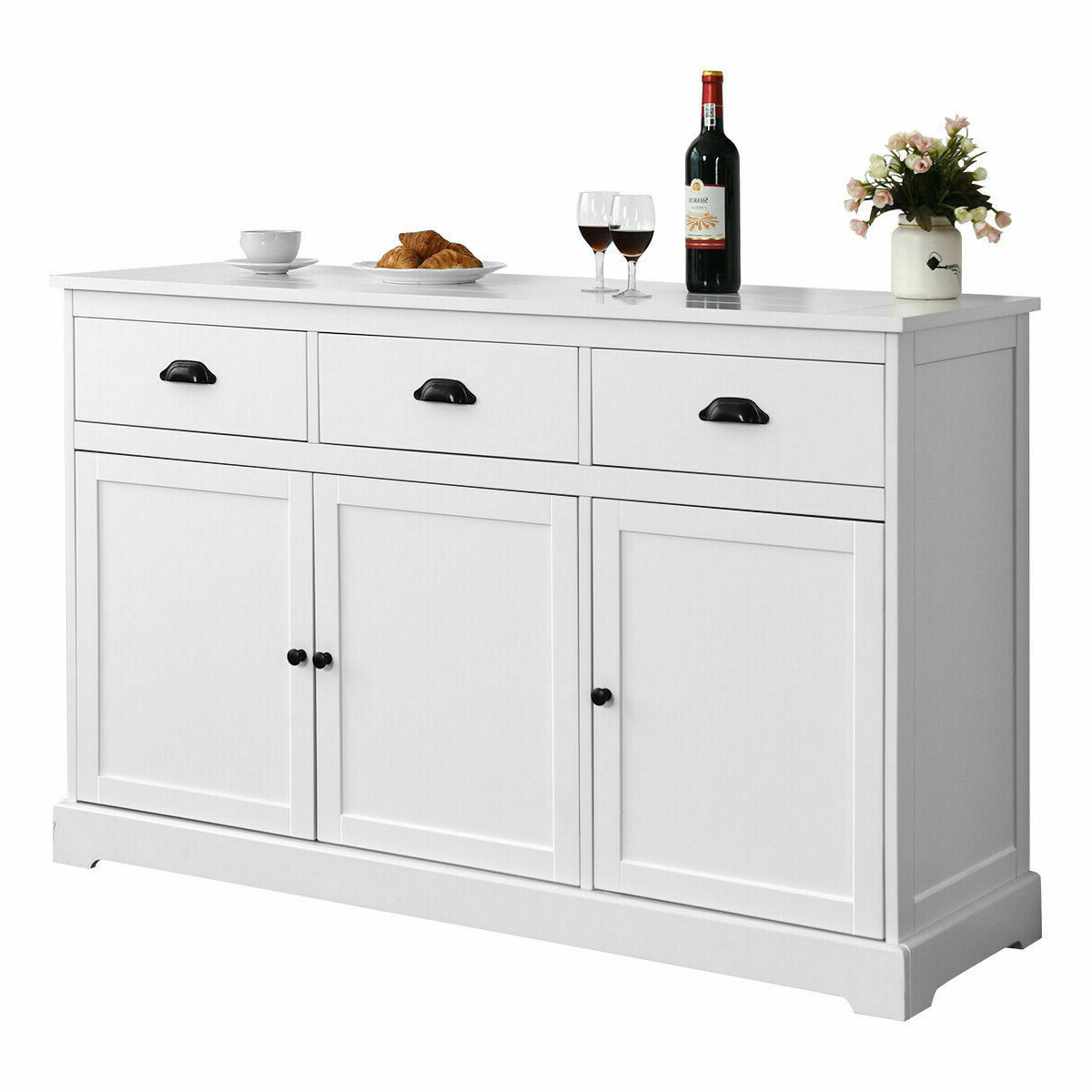 3 Drawers Sideboard Buffet Cabinet Console Table Kitchen Storage Cupboard  White In 3 Shelf Corner Buffets (Gallery 9 of 20)