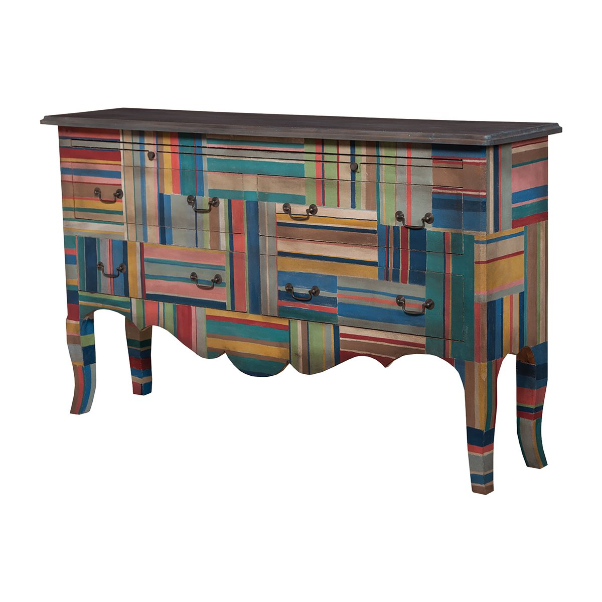 4 Drawer Sideboard In Multi Color Stripes With Heritage Dark With Multi Stripe Credenzas (View 7 of 20)