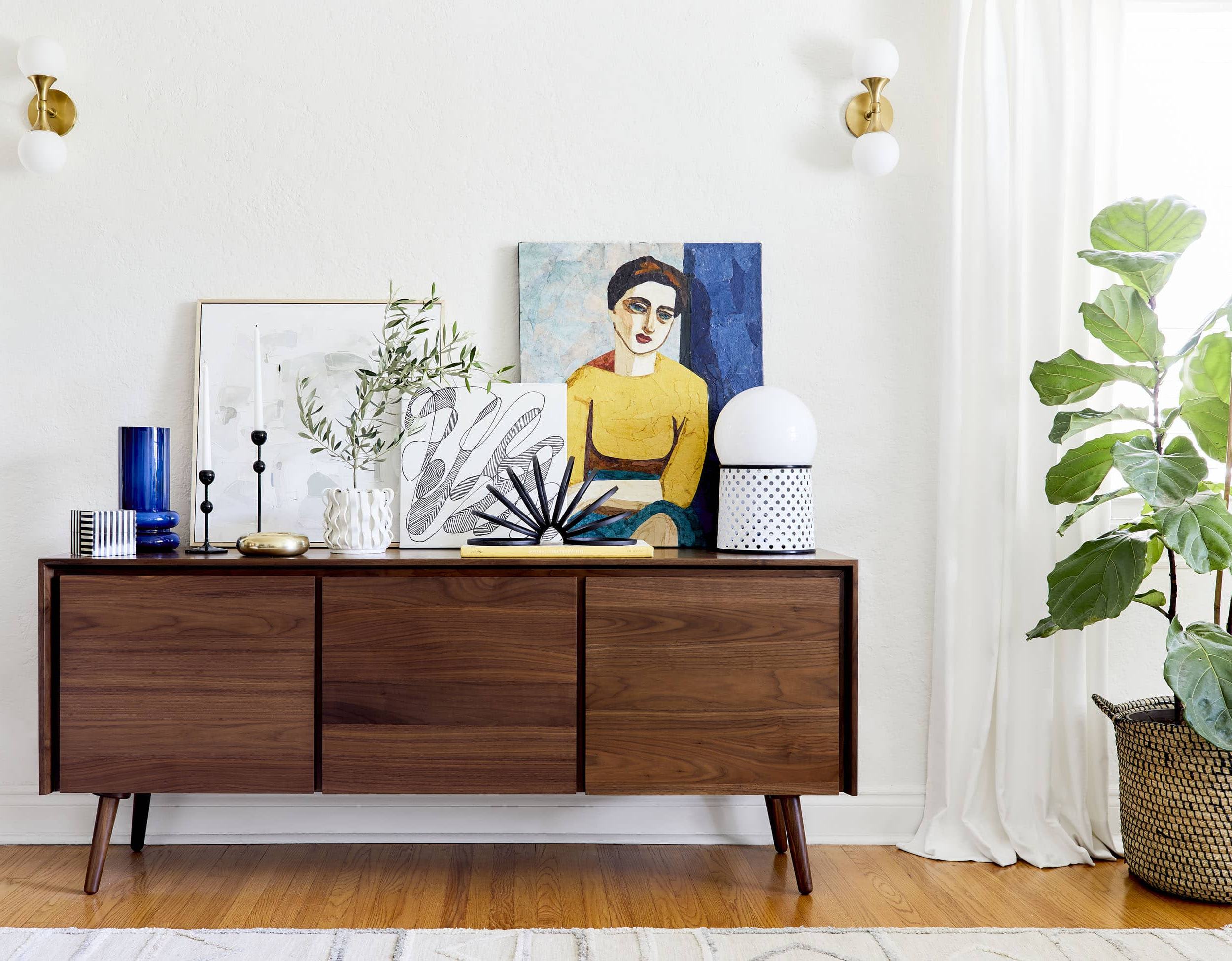 """4 Ways To Style That Credenza For """"real Life"""" + Shop Our Regarding Colorful Leaves Credenzas (View 2 of 20)"""