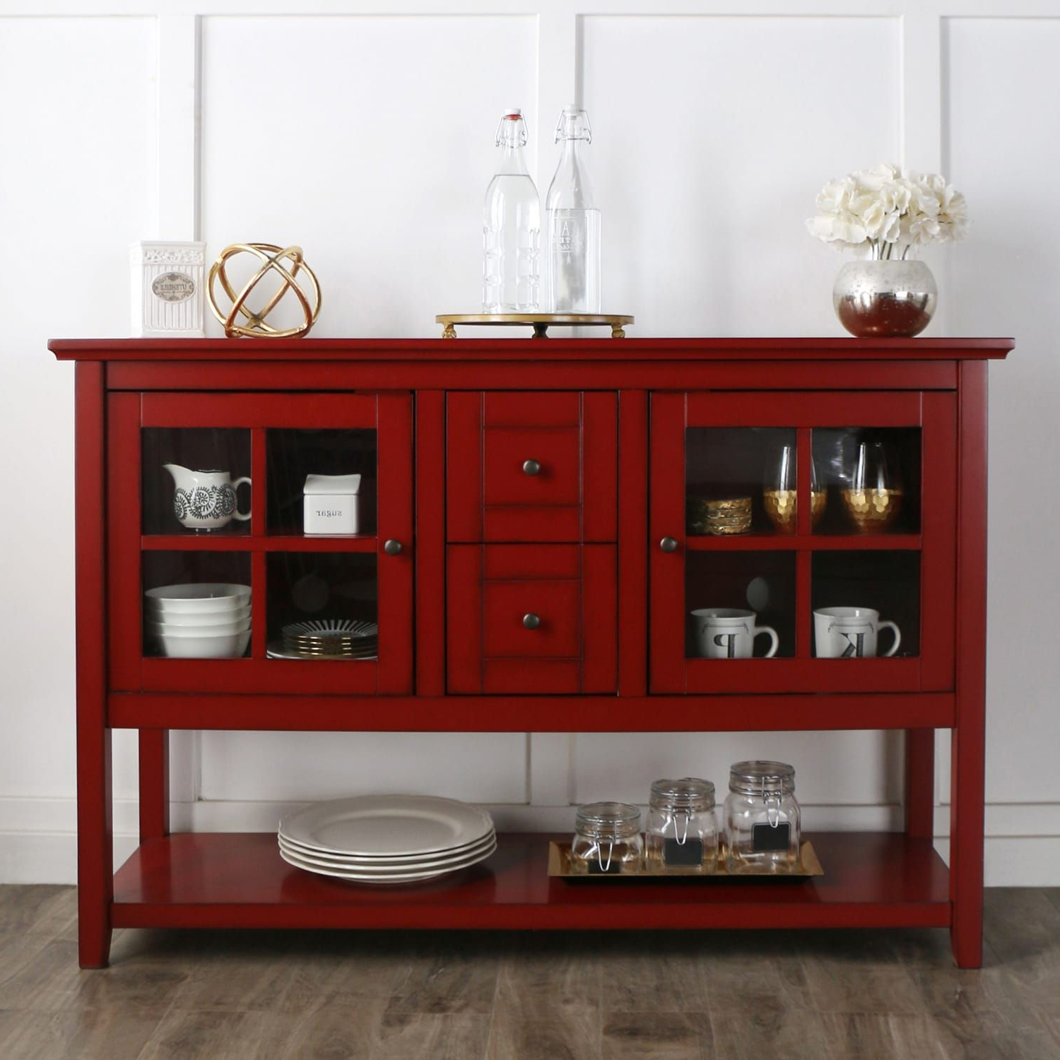 """52"""" Antique Red Tv Stand & Buffet In 2019 
