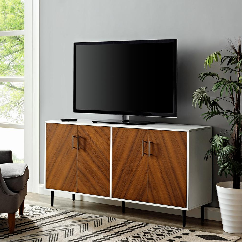 """58"""" Two Tone Modern Bookmatch Buffetwalker Edison With Modern Two Tone Buffets (Gallery 16 of 20)"""