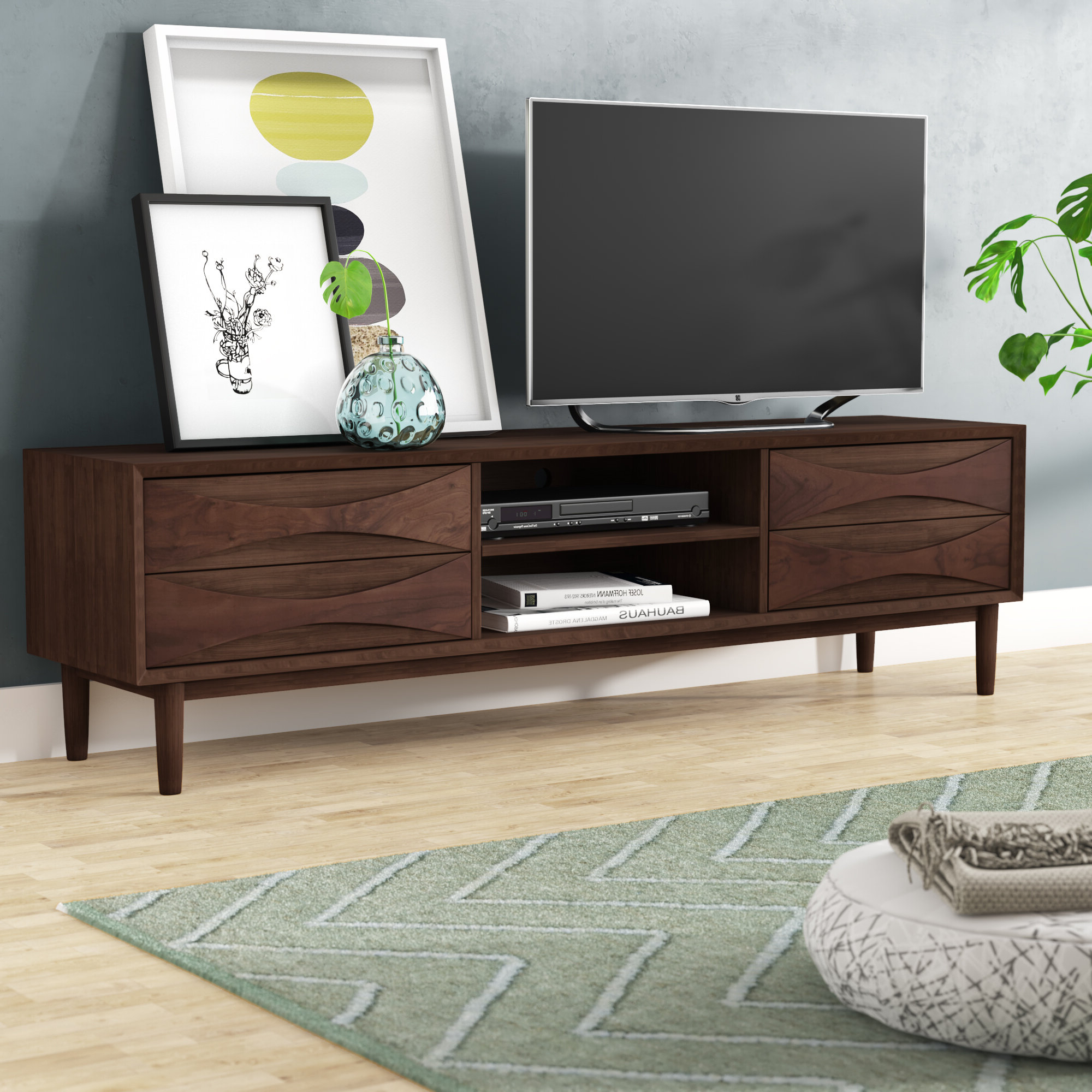 70 Inch And Larger Mid Century Modern Tv Stands Intended For Strick & Bolton Dallas Walnut Buffets (View 2 of 20)