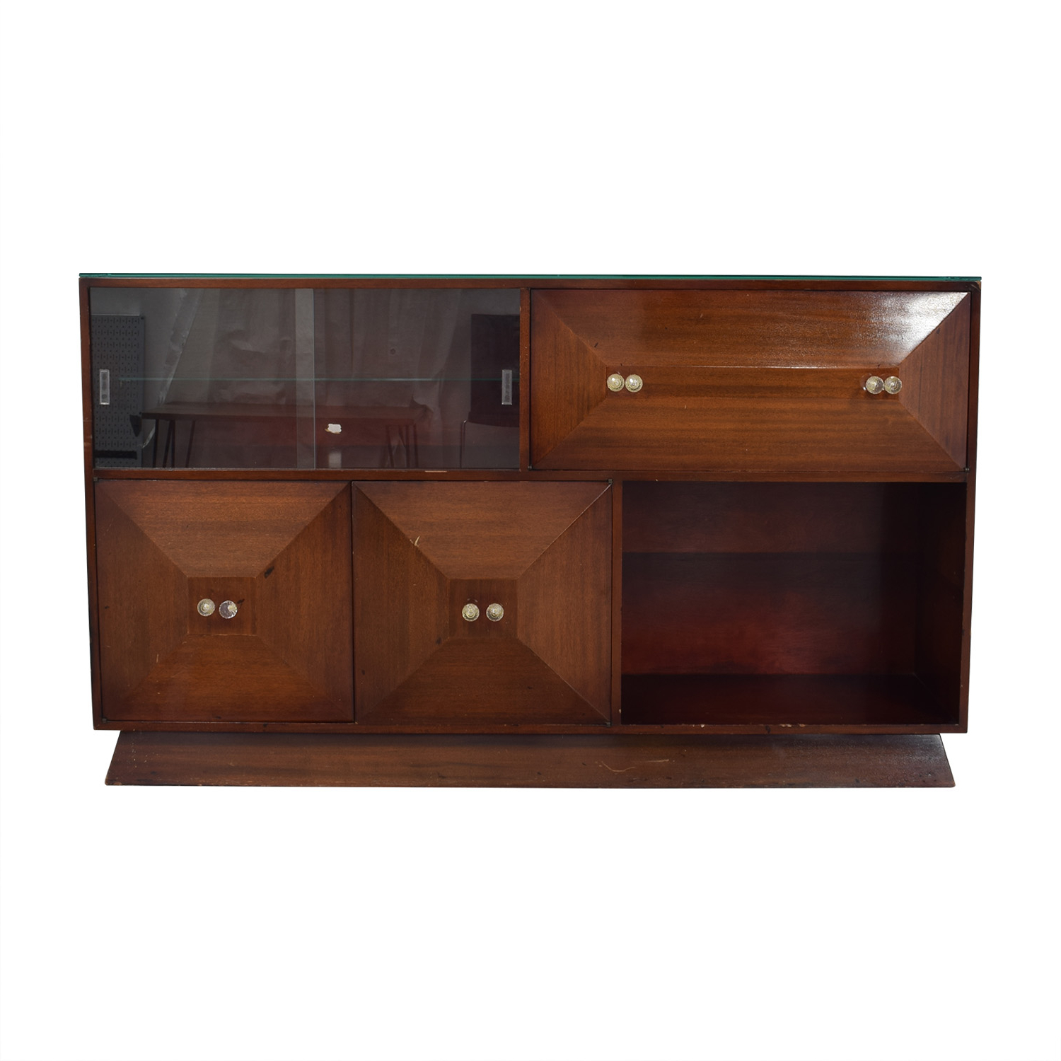 80% Off – Mid Century Bar Sideboard With Bar / Storage Intended For Mid Century Brown And Grey Sideboards (View 16 of 20)