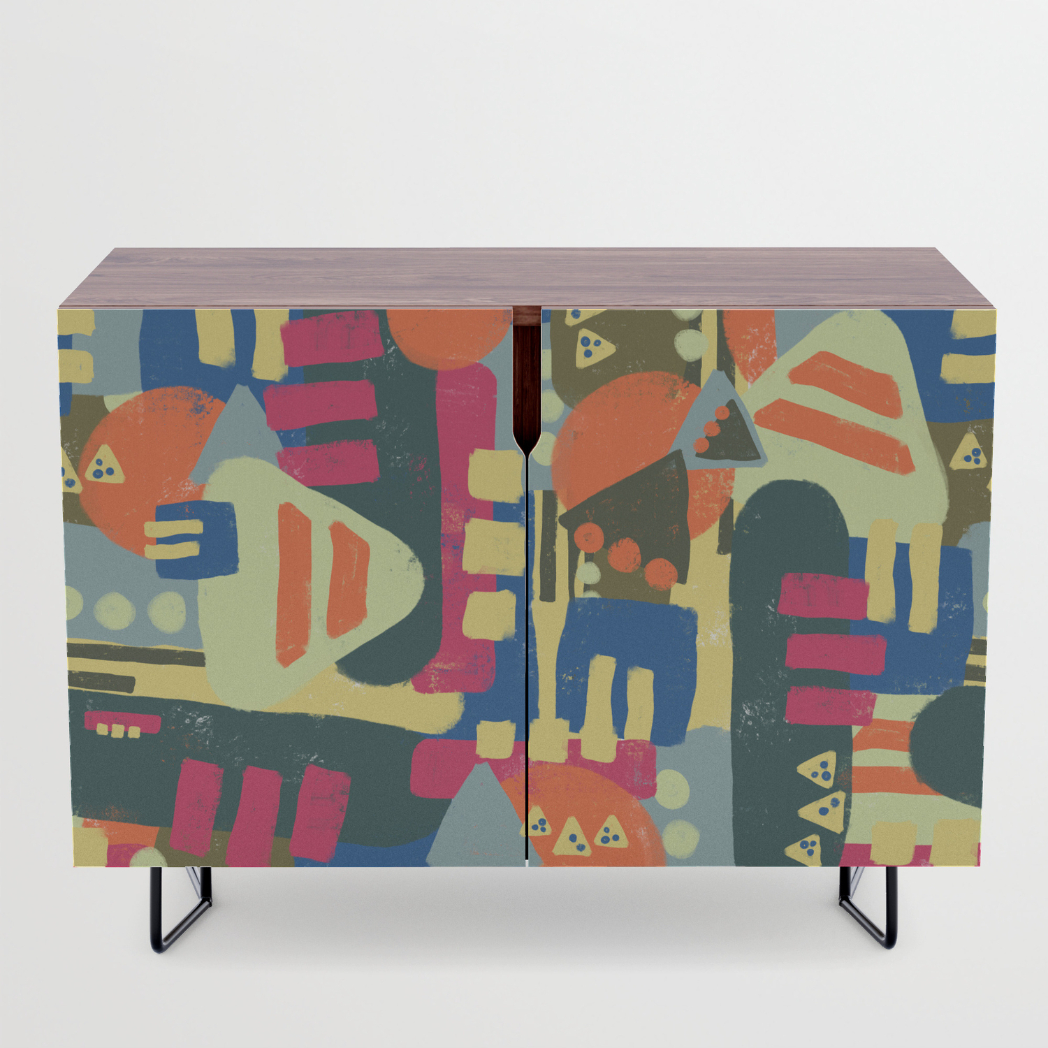 Abstract Geometric Shapes Pattern Credenza With Geometric Shapes Credenzas (View 4 of 20)