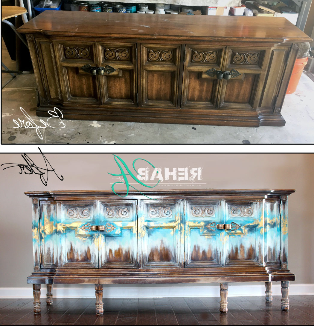 Abstract Gold Leaf Credenza   General Finishes Design Center In Colorful Leaves Credenzas (View 5 of 20)