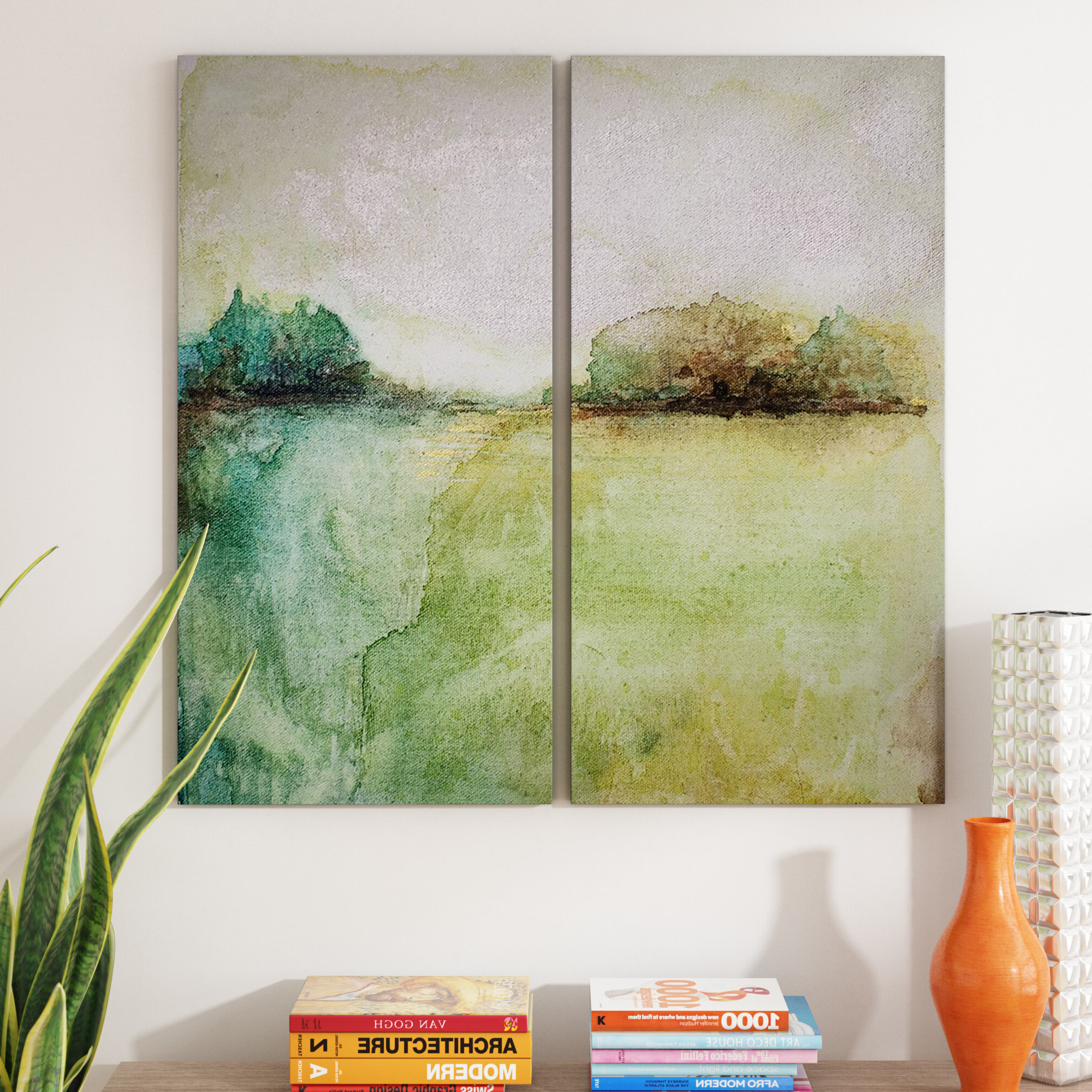 'abstract Landscape' 2 Piece Print Set On Canvas In Green/gray/teal Pertaining To Carbon Loft Feleni Contemporary Buffets (View 19 of 20)