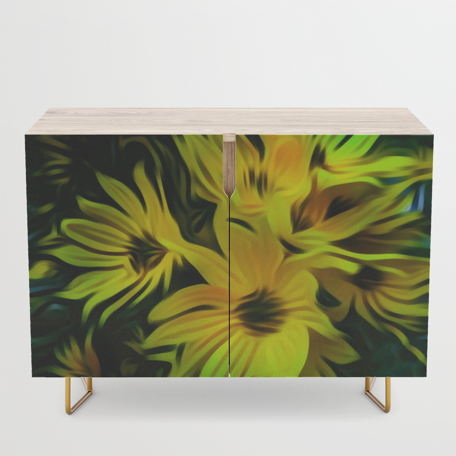 Abstract Yellow Flower Image Credenza Inside Yellow Flora Credenzas (View 1 of 20)