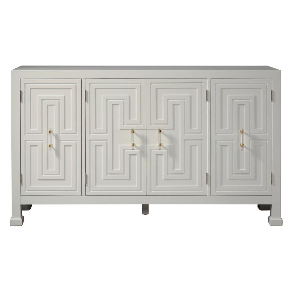 Accentrics Home White Geometric Overlay Credenza D212 100 Intended For Geometric Shapes Credenzas (View 14 of 20)