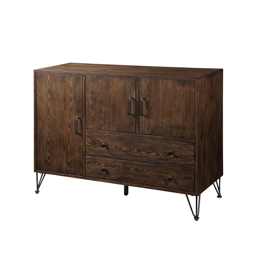 Acme Furniture Garron Walnut And Black Server 70739 – The Inside 2 Shelf Buffets With Curved Legs (View 2 of 20)