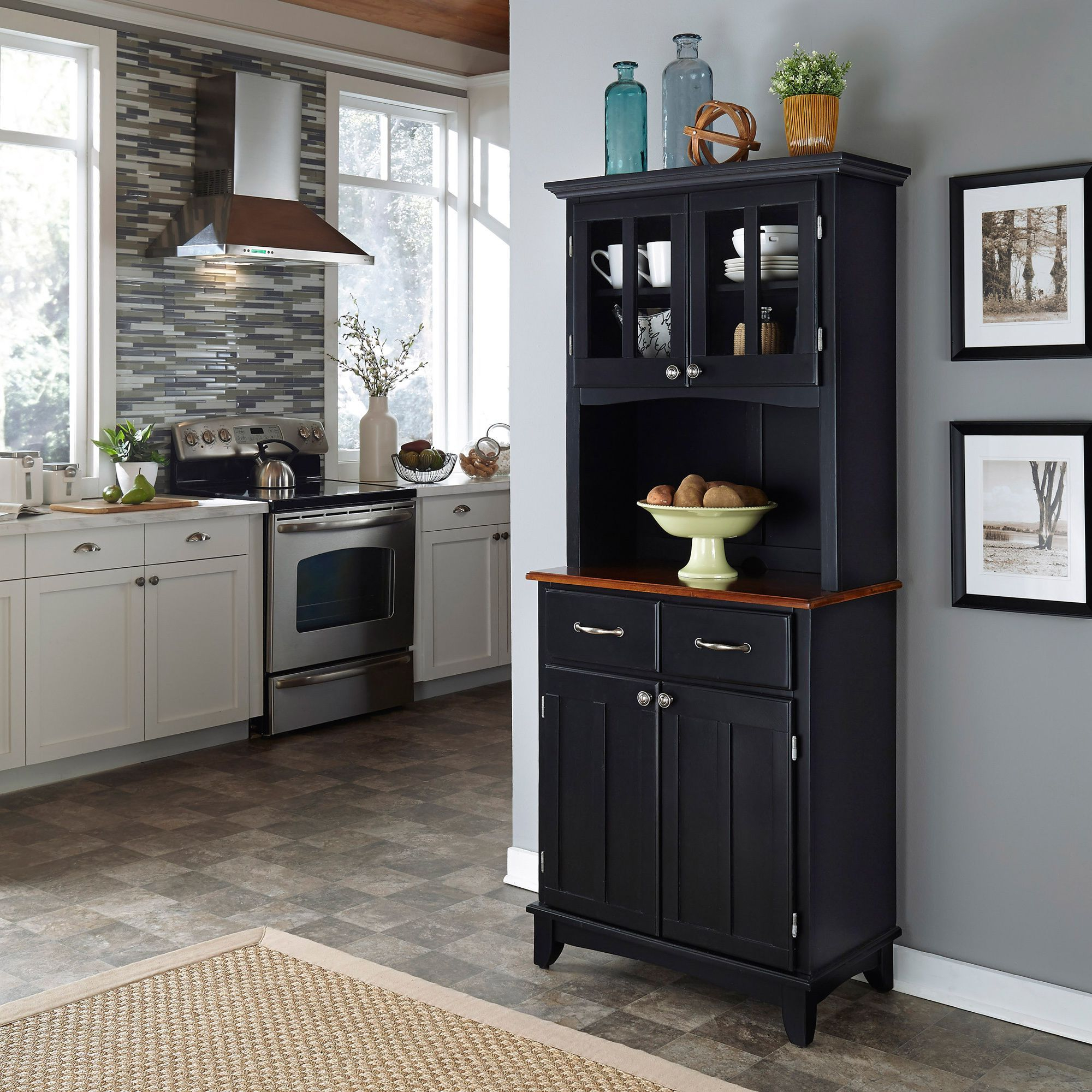 Add A Touch Of Luxury To Your Home With A Black Hutch Buffet Throughout Medium Cherry Buffets With Wood Top (View 2 of 20)