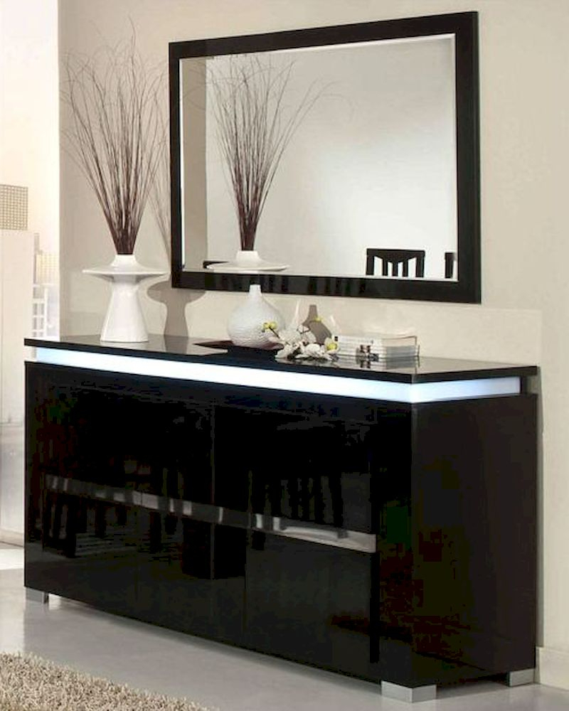 Adriana Modern Black Buffet With Mirror 44Dadrbm Throughout Modern Black Storage Buffets (View 3 of 20)