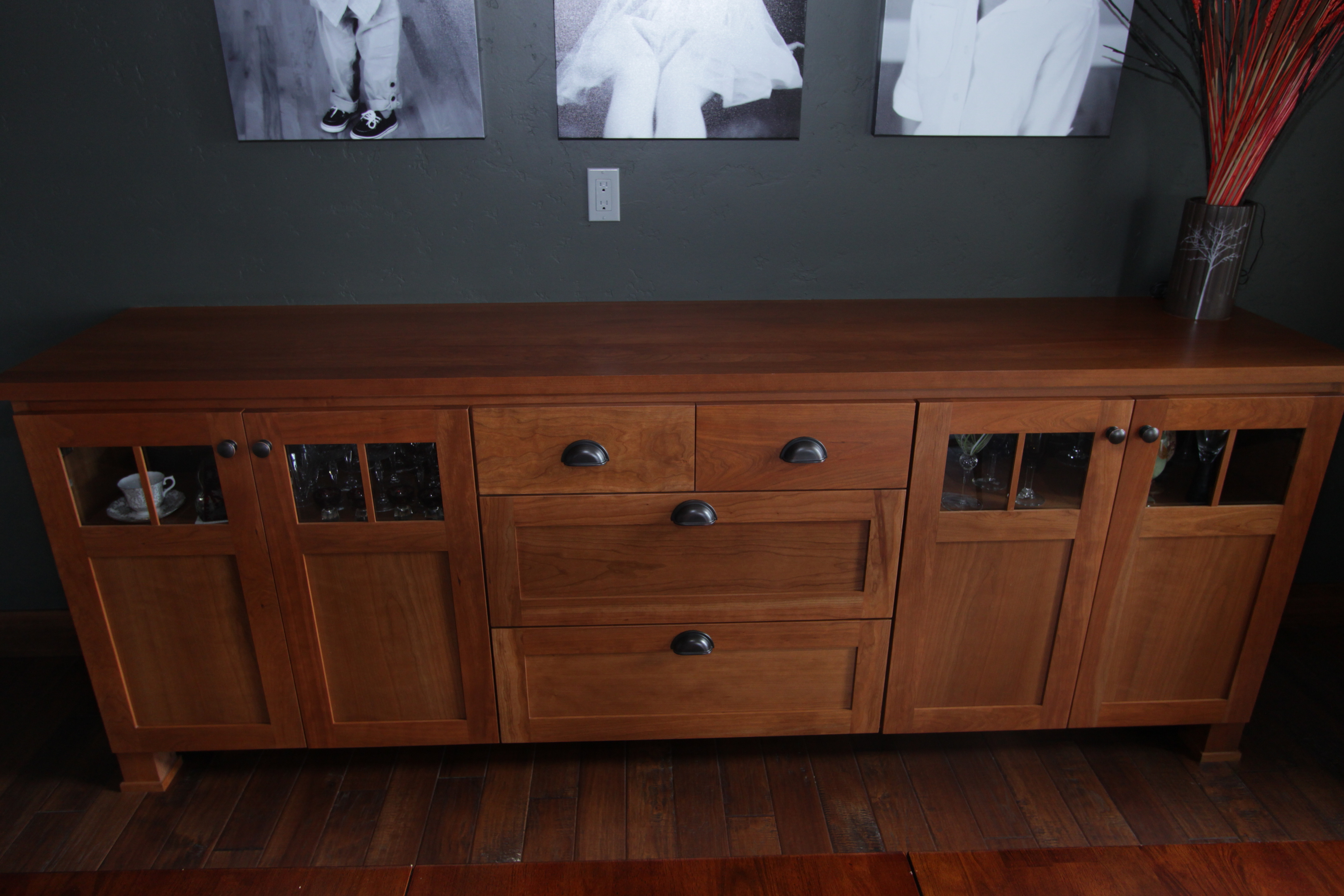 Affordable Custom Cabinets – Showroom In Medium Cherry Buffets With Wood Top (View 3 of 20)
