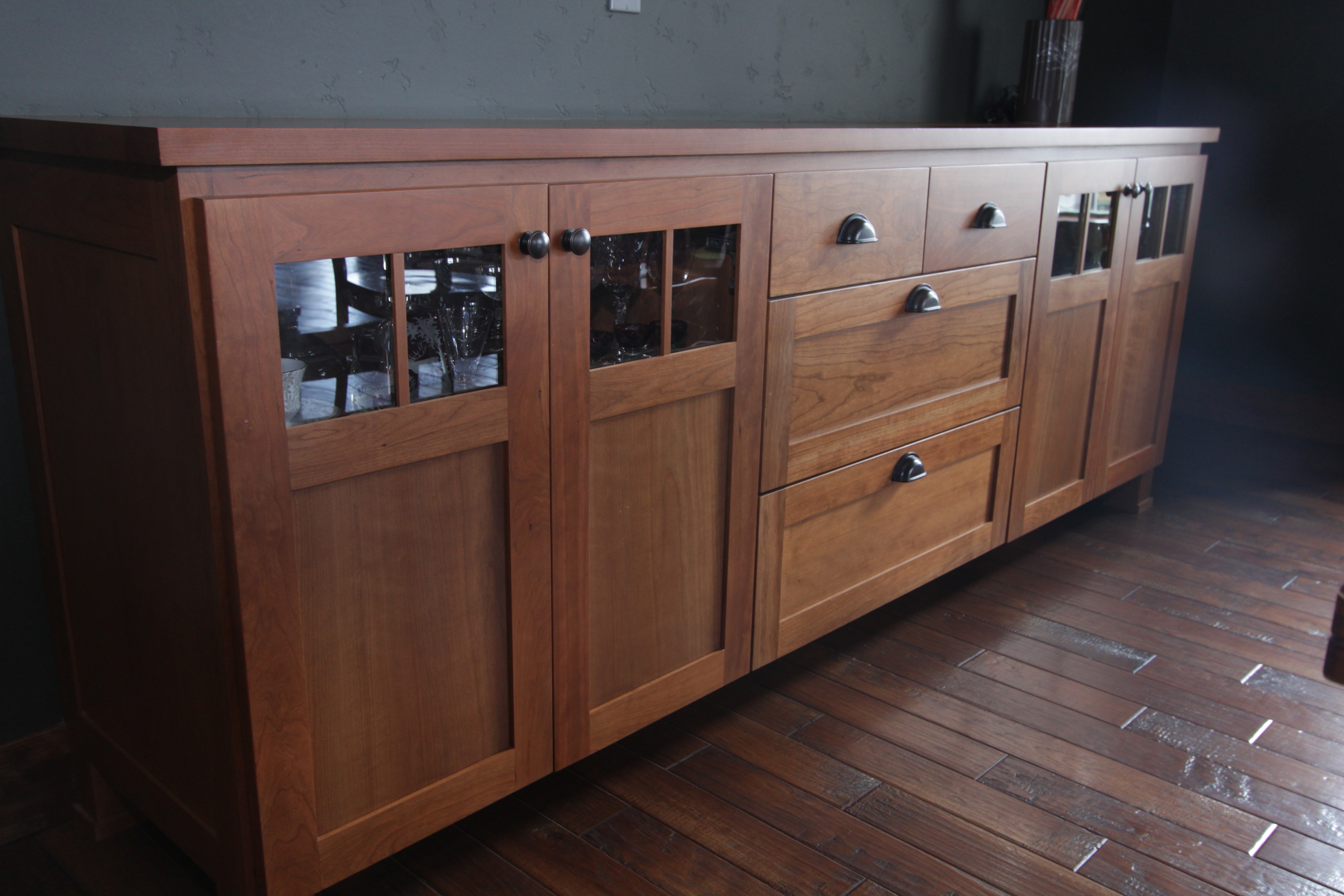 Affordable Custom Cabinets – Showroom Intended For Medium Cherry Buffets With Wood Top (View 4 of 20)