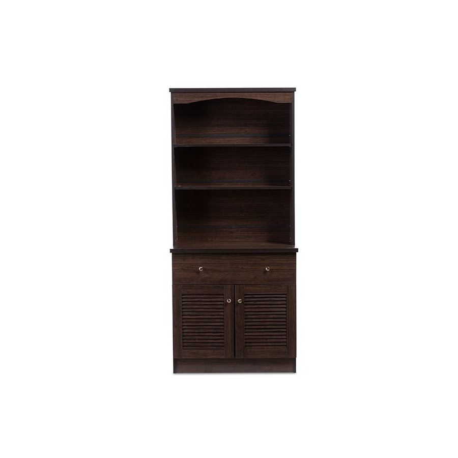 Agni Modern And Contemporary Dark Brown Buffet And Hutch Kitchen Cabinet Baxton Studio With Regard To Black Hutch Buffets With Stainless Top (View 11 of 20)