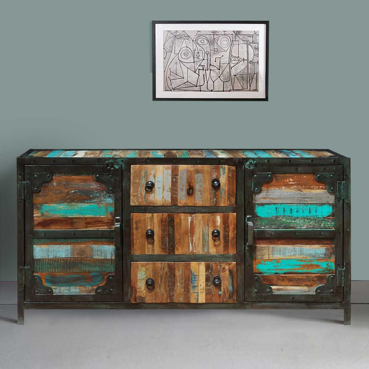 Allenhurst Rustic Reclaimed Wood 3 Drawer Industrial Sideboard Buffet Intended For Industrial Style 3 Drawer Buffets (View 2 of 20)