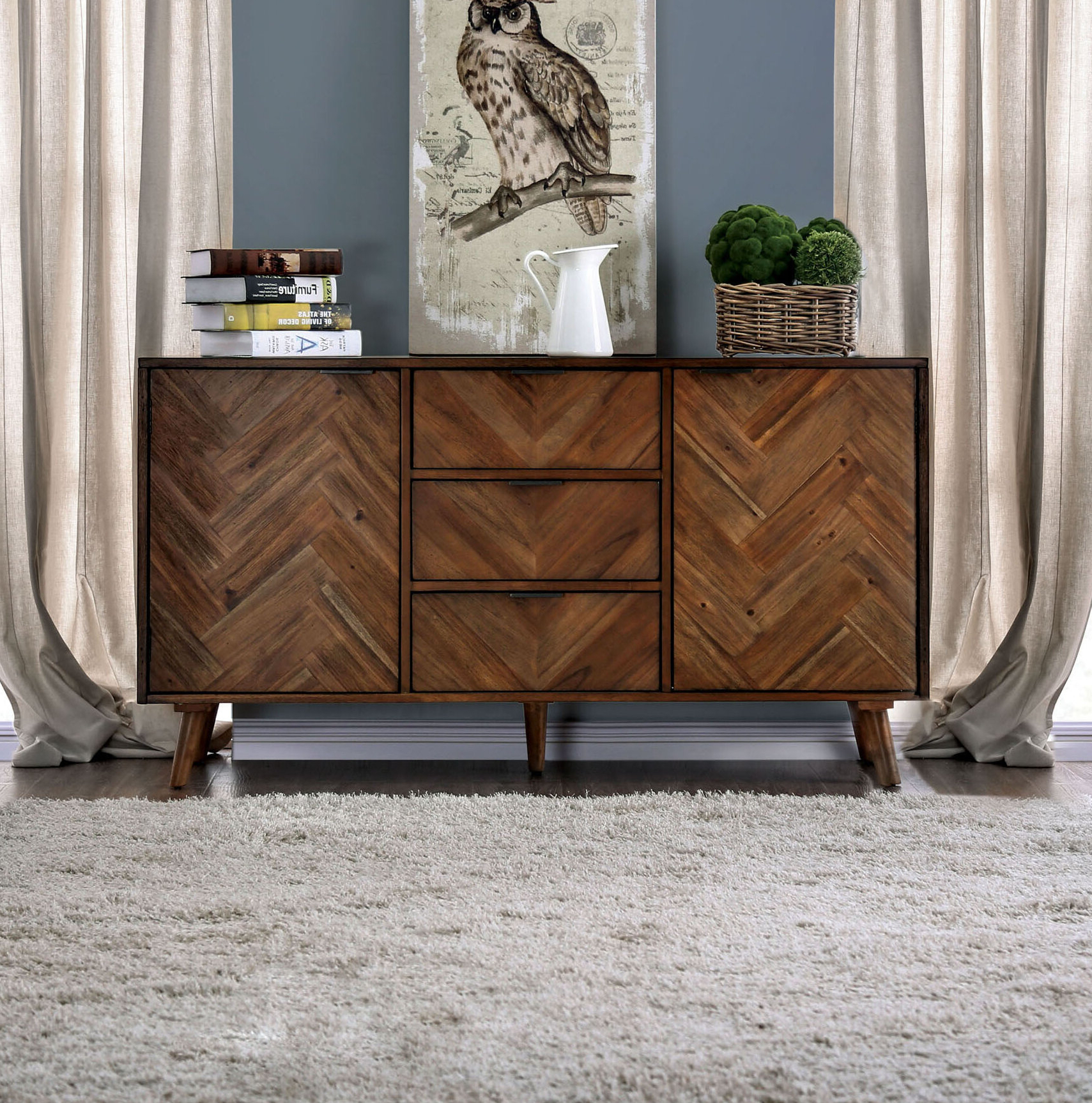 Altman 3 Drawer Credenza Inside Bright Angles Credenzas (View 12 of 20)