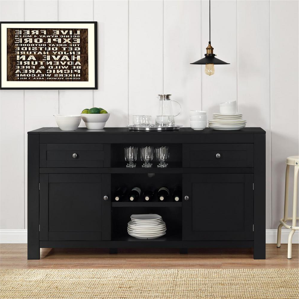 Altra Furniture Hadley Black Buffet With Wine Storage With Regard To Contemporary Wine Bar Buffets (View 2 of 20)