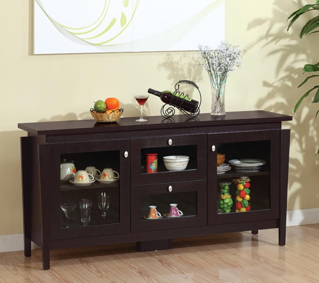 Amazon – Furniture Of America Cedric Modern Buffet Intended For Modern Cappuccino Open Storage Dining Buffets (View 1 of 20)