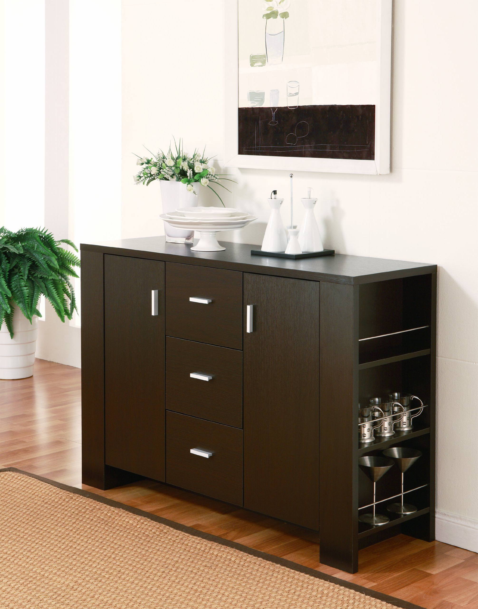 Amazon – Furniture Of America Quincy Dining Buffet Throughout Contemporary Cappuccino Dining Buffets (View 1 of 20)