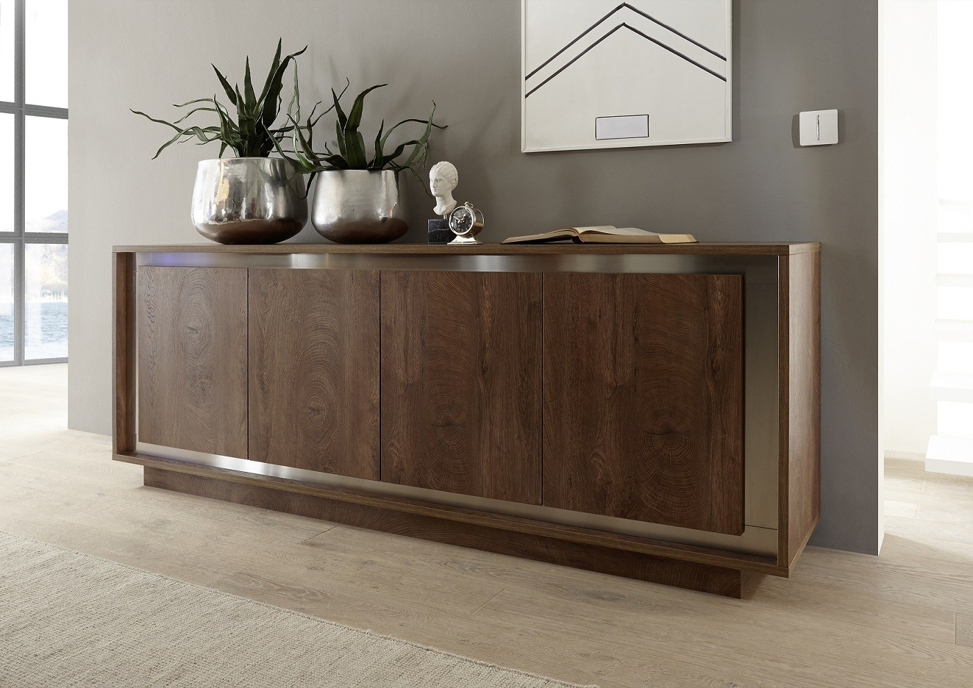 Amber Modern Sideboard In Oak Cognac Finish With Inlays For Contemporary Black Buffets (View 1 of 20)